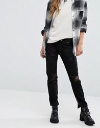 Lira High Rise Mom Jeans With Distressing Black