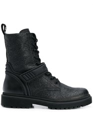 Moncler Shiny Cracked Effect Boots Black