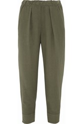 Raquel Allegra Cotton Twill Tapered Pants Army Green