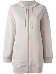 Alexander Wang T By Long Zip Up Hoodie Nude Neutrals