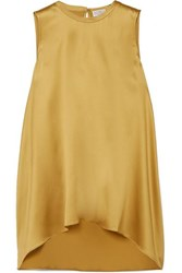 Brunello Cucinelli Bead Embellished Silk Blend Satin Top Yellow