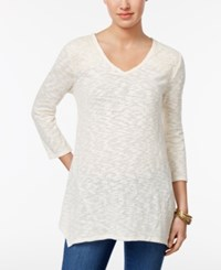 Style And Co Lace Yoke Handkerchief Hem Tunic Only At Macy's Warm Ivory