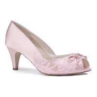 Paradox London Pink Dariela Wide Fit Mid Heel Peep Toe Shoes Pink