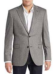 Saks Fifth Avenue Slim Fit Cashmere Sportcoat Black White