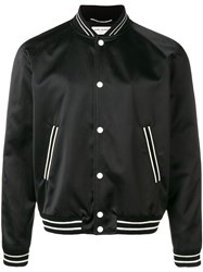 Saint Laurent Trimmed Bomber Jacket Black