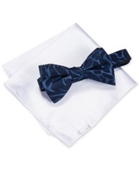 Alfani Men's Walsh Abstract Bow Tie And Pocket Square Set Only At Macy's Navy