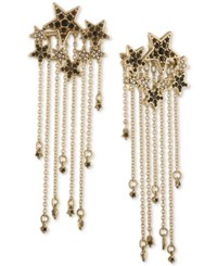 Rachel Roy Gold Tone Pave Stars And Chain Fringe Drop Earrings