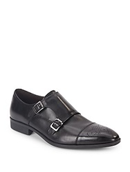 Saks Fifth Avenue Connery Leather Monk Strap Shoes Black