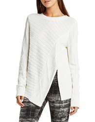 Bcbgeneration Solid Ribbed Pullover Off White