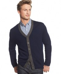 Club Room Merino Wool Cardigan Only At Macy's Navy Blue