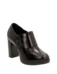 Clarks Elipsa Mae Leather Monk Strap Loafers Black
