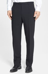 Santorelli Men's Big And Tall Flat Front Travel Trousers Black