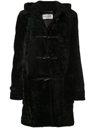 Saint Laurent Shearling Duffle Coat Black