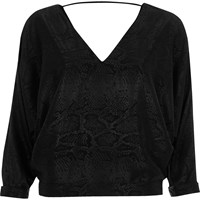 River Island Womens Black Snake Print Batwing Top