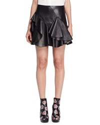 Alexander Mcqueen Ruffled Leather Mini Skirt Black