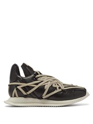 Rick Owens Maximal Runner Laced Leather Trainers Black Multi