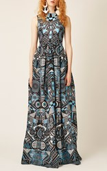 Holly Fulton Sleeveless Printed Gown Blue