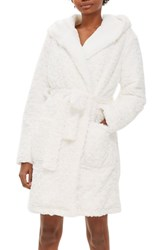 Topshop Fluffy Faux Fur Hooded Robe Cream