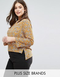 Rage Plus Long Sleeve Chiffon Floral Print Blouse With 3 4 Sleeve Yellow