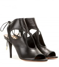 Aquazzura Sexy Thing 85 Leather Sandals Black