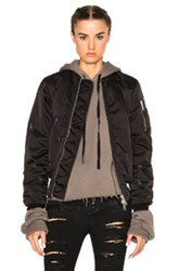 Unravel Nylon Oversized Bomber In Black