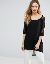 Jasmine Oversized Top With Lace Sleeves Black