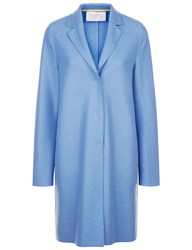 Harris Wharf Sky Blue Wool Cocoon Coat Green