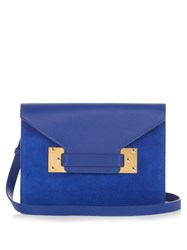 Sophie Hulme Double Milner Suede And Leather Clutch Blue
