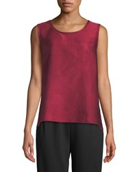 Caroline Rose Zen Garden Easy Fit Swirl Stitch Jacquard Tank Rouge