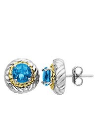 Lord And Taylor Blue Topaz Earrings In Sterling Silver Blue Topaz Silver