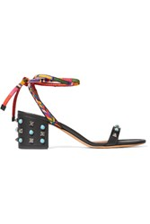 Valentino Rockstud Rolling Embellished Leather Sandals Black