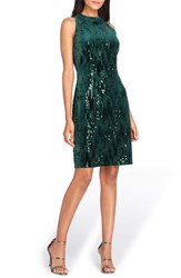 Tahari Women's Sequin Velvet Sheath Dress Forest Green