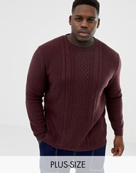 Tom Tailor Plus Knitted Jumper In Cable Knit In Red