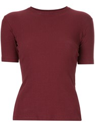 Kacey Devlin Ribbed Fit T Shirt Red