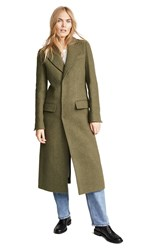 Esteban Cortazar Embroidered Tailored Coat Olive