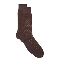 Harrods Spot Cotton Lisle Socks Brown