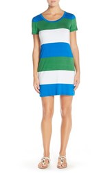 Women's Tommy Bahama 'Rugby' Stripe Stretch Cotton T Shirt Dress Sailor Blue