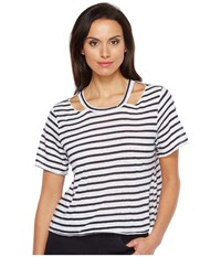 Lna Stripe Cut Out Crop Tee White Navy Stripe Women's T Shirt