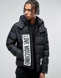 Love Moschino Padded Jacket With Hood Black