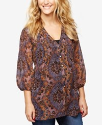 A Pea In The Pod Maternity Printed Blouse Blue Paisley