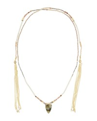 Nakamol Long Beaded Lariat Choker Necklace Gray