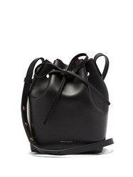 Mansur Gavriel Red Lined Mini Leather Bucket Bag Black Multi