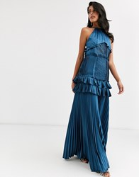 True Decadence Halterneck Tiered Maxi Dress With Panel And Ruffle Detail In Midnight Navy