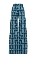 Holly Fulton Printed Flared Trousers Blue