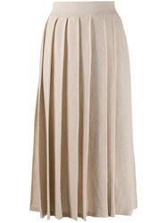 Agnona Cashmere Knitted Pleated Skirt 60