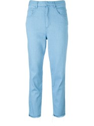 Marques Almeida Straight Leg Frayed Hem Cropped Jeans Blue