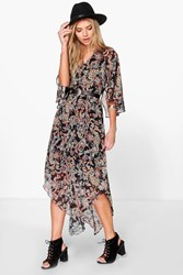 Boohoo Hem Paisley Maxi Dress Multi