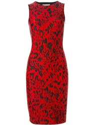 Fausto Puglisi Animal Print Fitted Dress Red