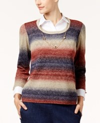 Alfred Dunner Petite Layered Look Necklace Sweater Multi