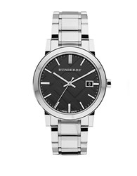 Burberry Mens Stainless Steel Watch With Black Dial Silver